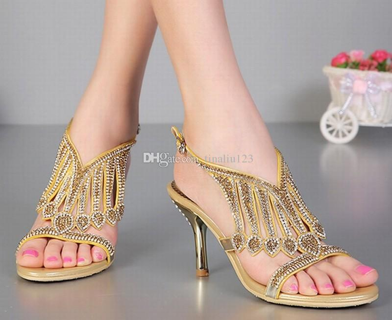 9abf96c21d9eed Hot Sexy Elegant 2016 New Style Women High Heels Sandals Fashion Tassel  Rhinestone Crystal Buckle Summer Pumps Thin Heeled Lady Shoes 34-44 Women  Rhinestone ...
