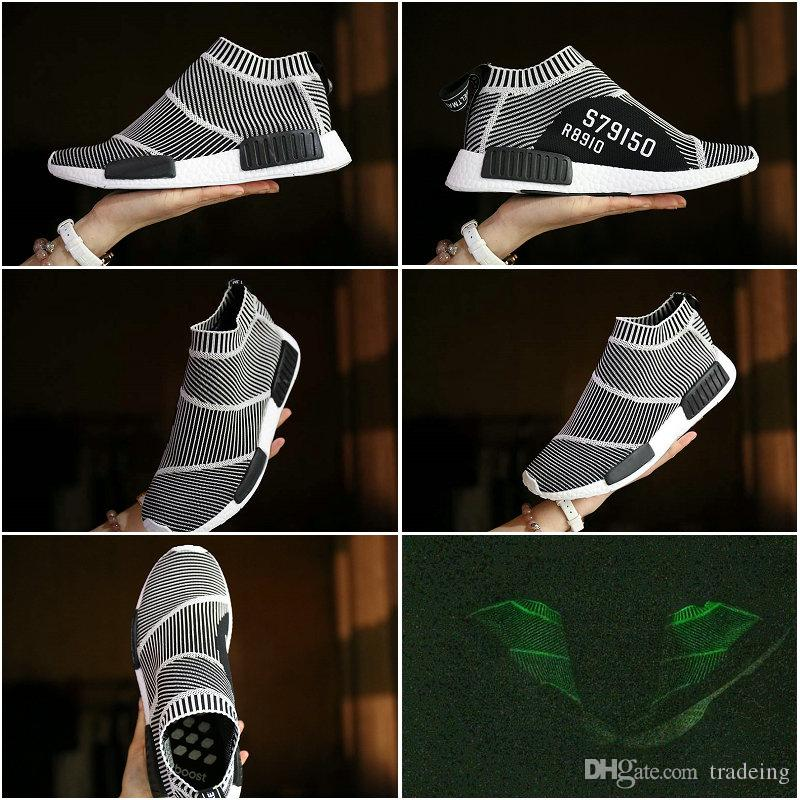 01262170dd591 2019 Drop Shipping Famous Original NMD CS1 City Sock Glow Primeknit S79150  Core Black White Womens Mens Sports Running Athletic Shoes Size 5 10 From  ...