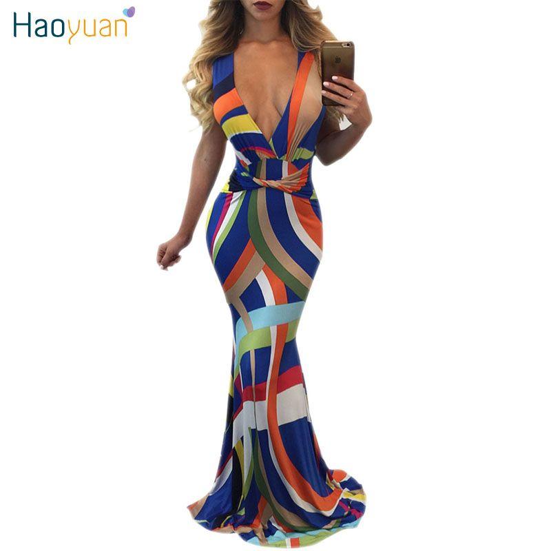 Haoyuan Deep V Neck Long Striped Mermaid Dress Women 2017 New ...