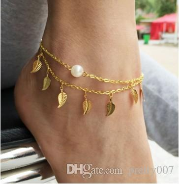 leaf fashion for anklets online buy light at plated gold jewelry boots charm mens c anklet womens girl delicate beach