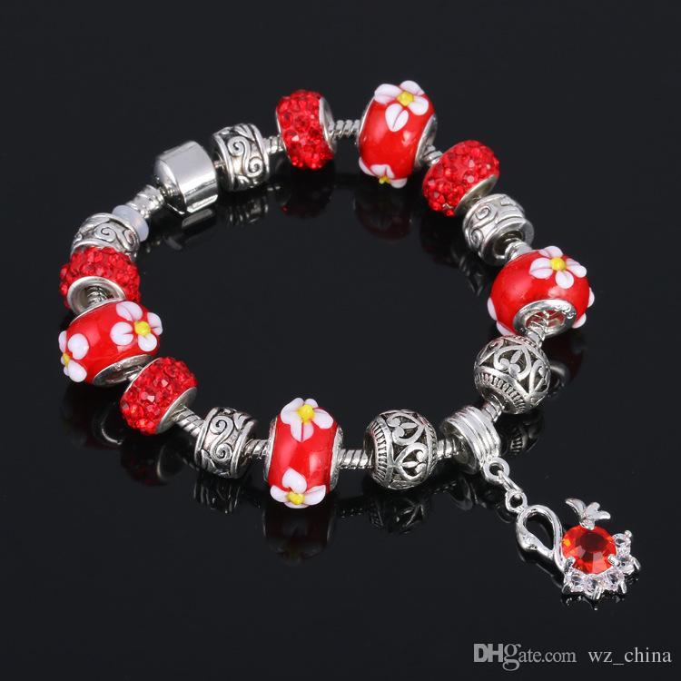 Bunte glasperlen armband glasur perlenarmband diy kreative kristall naturstein perlen blume armbänder schmuck 7 farben dhl versand