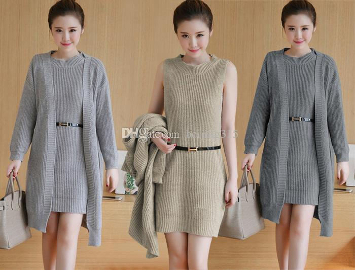 8839fb51a05 2019 Spring Fall Korean Women Sweaters Two Piece Set Knitted Tank Dress  Long Cardigan Sweater Coat Sweatershirts Suit Outerwear From Beijing315
