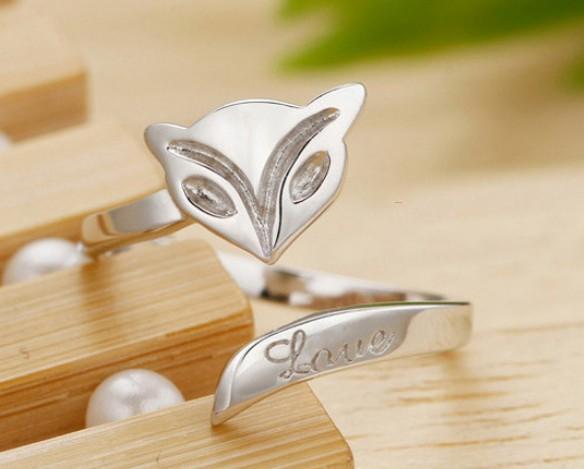 El yapımı S925 Vintage Fox Yüzükler Gümüş Sterlini Band Yüzükler Kızlar / Bayanlar