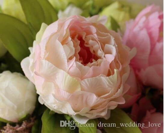 pivoine belle fleur décoration de la maison Artificielle Pivoine Bouquet Fleurs Accessoires De Mariée Jardin En Vrac Coureurs 7 têtes de pivoine