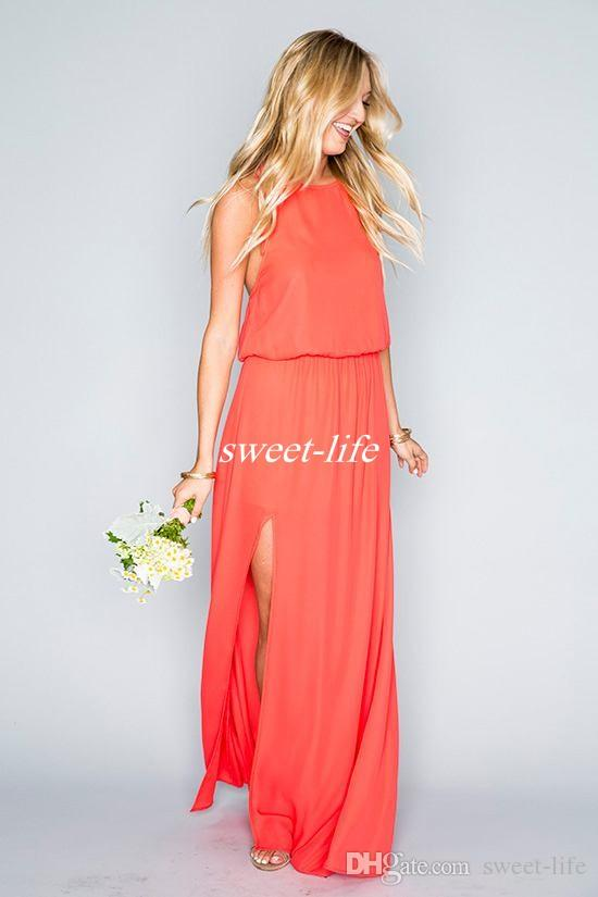 Cheap Beach Wedding Bridesmaid Dresses Chiffon Floor Length 2019 Mixed Style High Split Boho Maid of Honor Dress Plus Size Party Gown