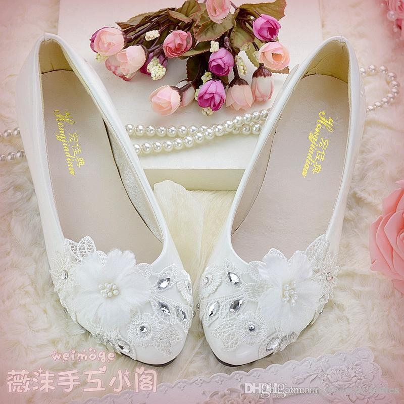 4d656daa390 Ivory Lace Wedding Shoes Flower Handmade Beads Flat Heel 4.5cm 8cm ...