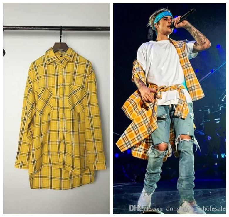 2017 Long Sleeve Yellow Tartan Plaid Shirts Mens Hip Hop Shirt ...