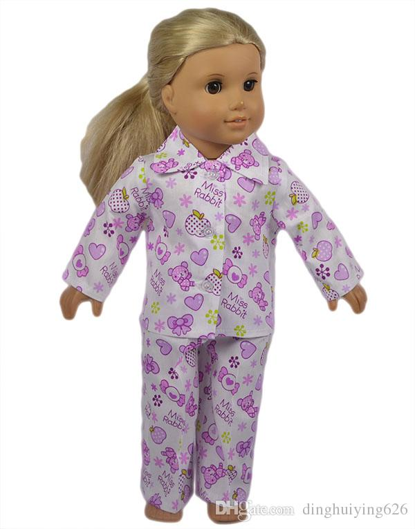 18 inch American Girl Doll Clothes Set Flower and Heart Pattern Cotton Material American Girl Doll Pajamas