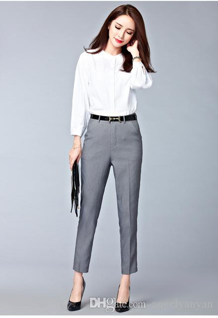 2018 2017 Spring New Fashion High Waist Pencil Pants For Women Office Ol Style Work Wear Skinny Female Vintage Trousers From Angelyanyan