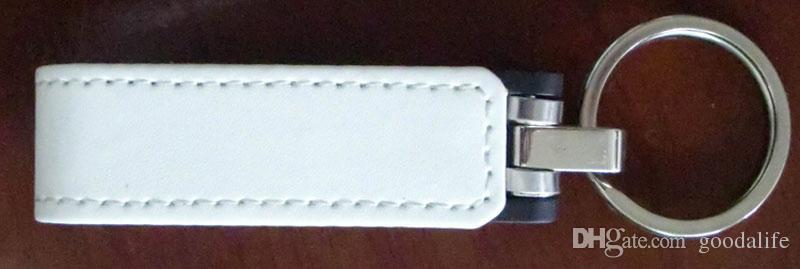 16GB 32GB No logo New Leather USB Flash Drives Leather USB Flash Memory Stick USB3.0 Metal Key Ring Leather U Disk