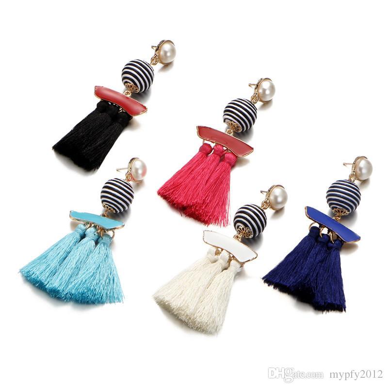New Vintage Pearl Jewelry Long Fringe Drop Earrings For Women Retro Boho Tassel Colorful Statement Dangle Earring Gifts HZ
