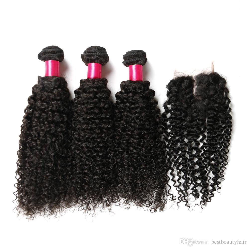 Top Dentelle Fermeture + Cheveux Bouclés Trames De Cheveux Brésiliens Kinky Bouclés Vierge Tissage de Cheveux Humains Extensions de Cheveux Profondement Bouclés 7A Remy Trame Humaine