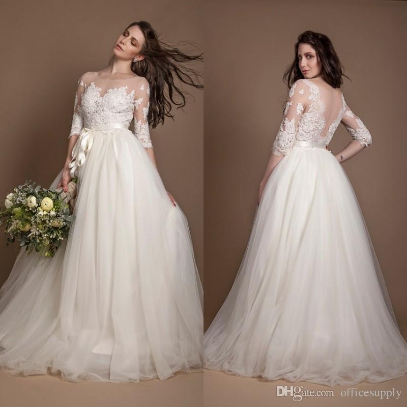 2019 New Plus Size Three Quarter Sleeve Wedding Dresses Ivory Beaded  Illusion Lace and Tulle Wedding Gown