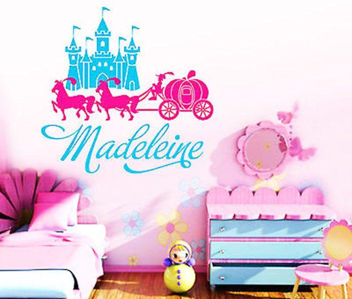 Custom Made Name Princess Castle Carriage Wall Stickers - Custom made stickers cheap