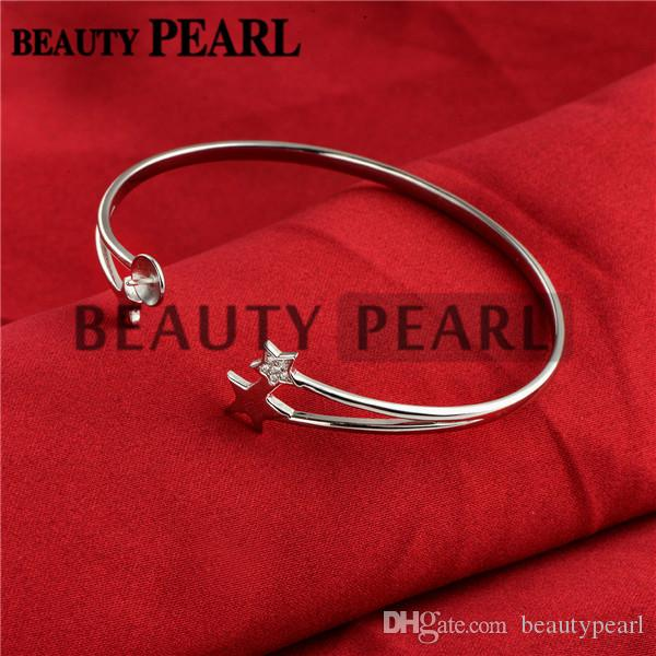 Star Bracelet Base Pearl Semi Mountings Star 925 Sterling Silver Blanks Cuff Bangle Settings
