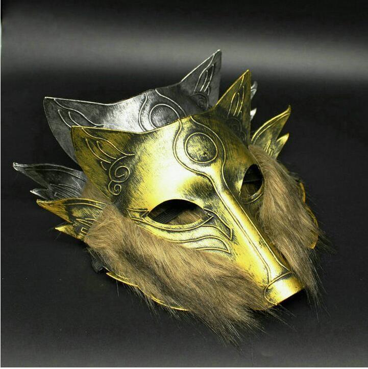 Homens Halloween Máscaras de Cabeça de Lobo Terrorista Retro Ouro Animais de Prata Máscaras Máscaras de Festa Em Casa Festa de Comemoração Máscaras Completas