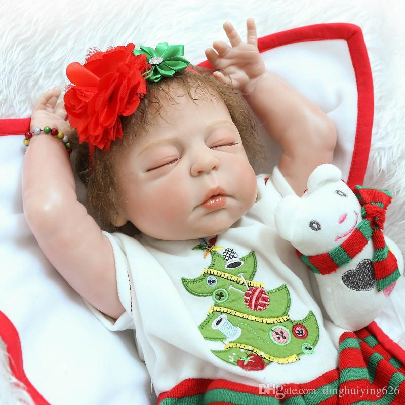 "22"" Anatomically Correct So Truly Real Lifelike Baby Doll Girls Christmas Gift Doll in Red Dress"