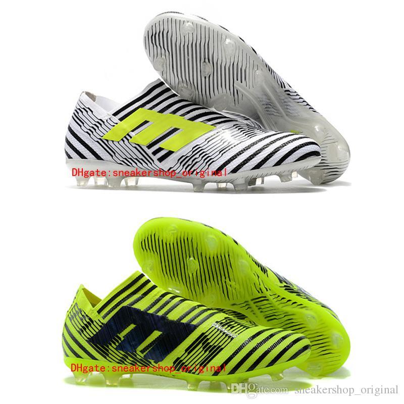 huge selection of 3f102 409f3 2018 Kids Leather Mens Nemeziz 17 Soccer Shoes Low Nemeziz 360 Agility FG Football  Boots Laceless Original White Soccer Cleats Cheap Green Baby Leather ...