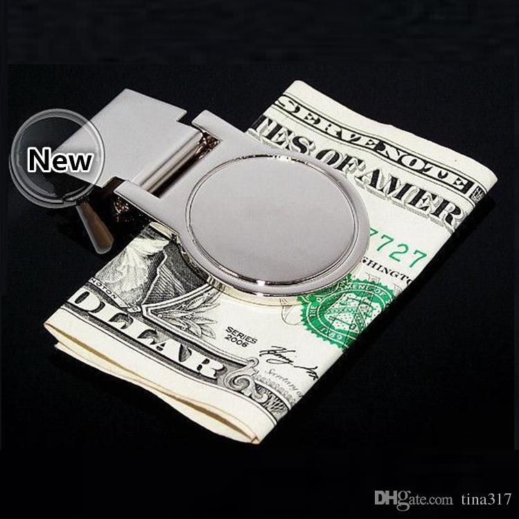Frauen und Männer DIY Leere Geldklammern / Kreditkartenhalter Silber Silber Edelstahl Kartenhalter Metall Brieftasche Clip/ 4001