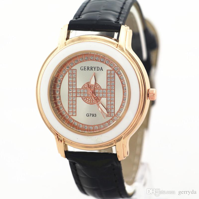 PVC leather belt,gold plate alloy round case,quartz movement,Gerryda fashion woman lady leather watches,! Hot selling,793