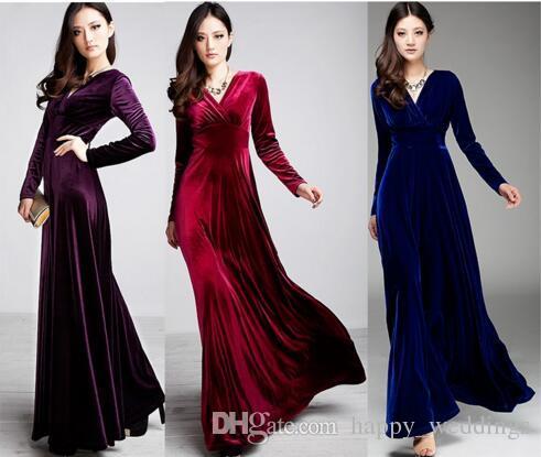 20f8c8cc12a6 Acquista Abito Lungo Da Donna Plus Size S ~ 3XL Donna Inverno Abiti Manica  Lunga Con Scollo A V Maxi Velour Sexy Party Dress A  25.33 Dal  Happy weddings ...