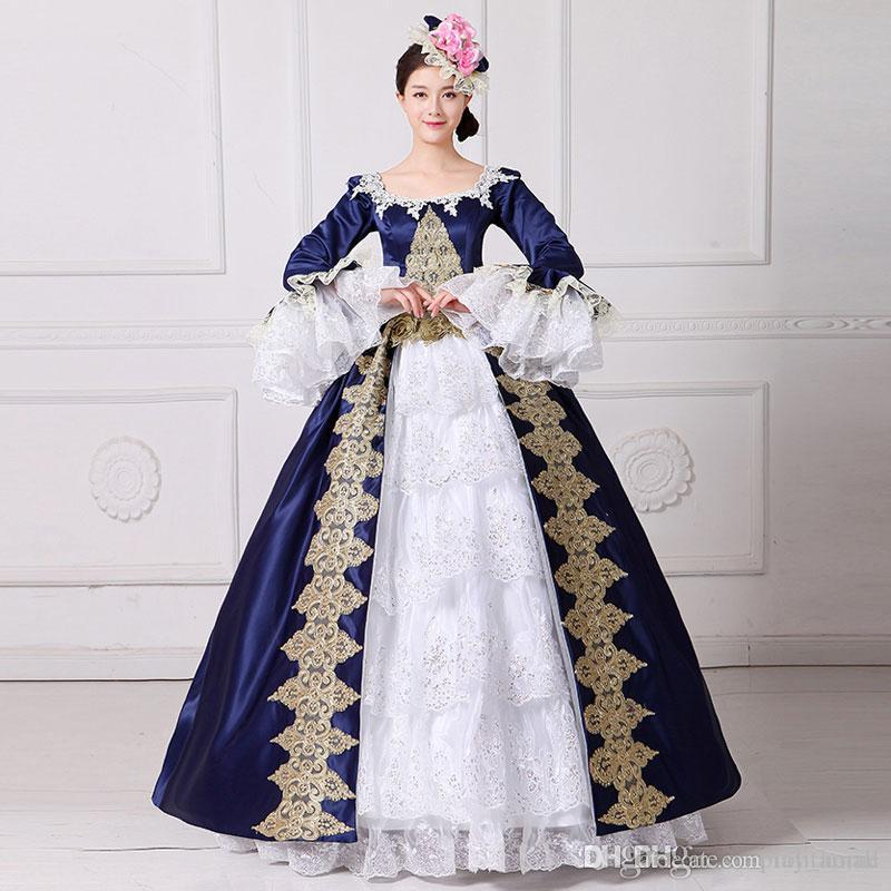 High Quality 2017 Square Collar Long Flare Sleeve Blue Embroidery 18th  Century Stage Show Marie Antoinette Princess Dresses Ball Gowns Online with  ... 1fbda7af0