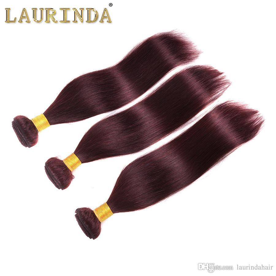 Brazilian Burgundy Hair With Lace Frontal Closure 4x4 inch Silk Straight #99J Wine Red Human Hair Bundles With Ear to Ear Full Frontals