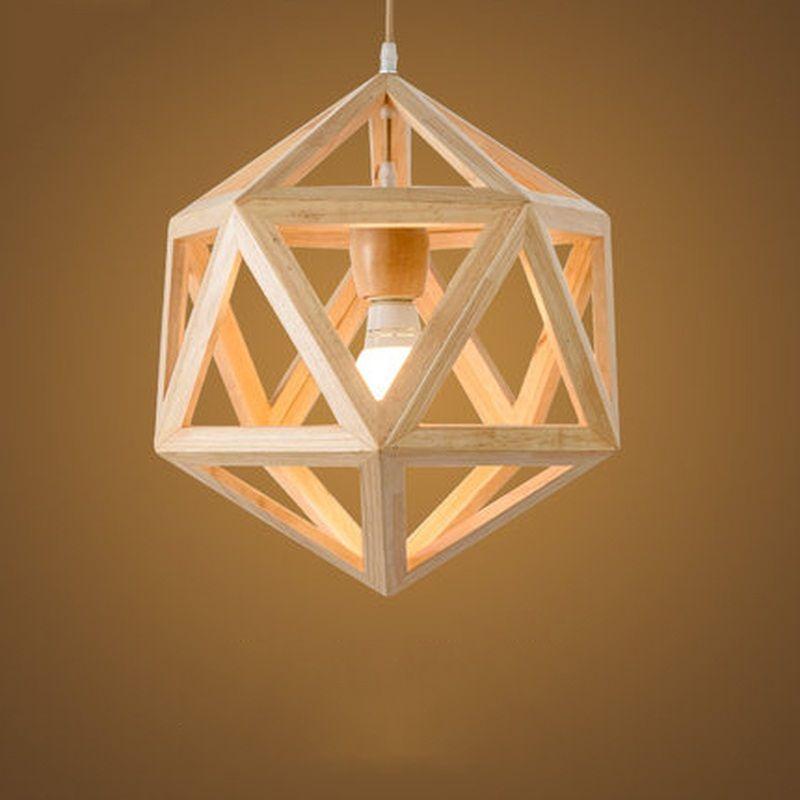 Nordic Loft Style Geometric Wooden Modern Droplight Edison Pendant ...