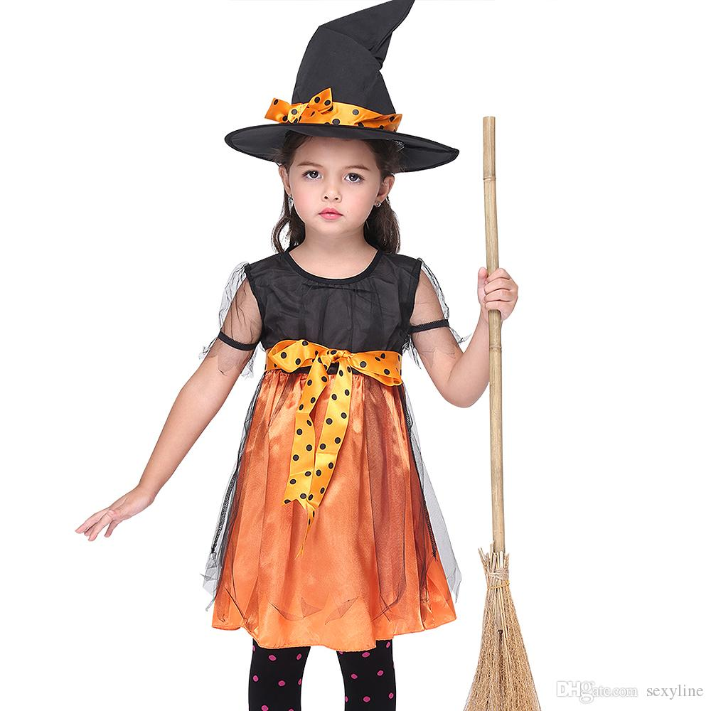 kids witch halloween party fancy dress girls xmas party christmas cosplay costume children skirt 3 to 8 years halloween costumes for groups of 3 halloween