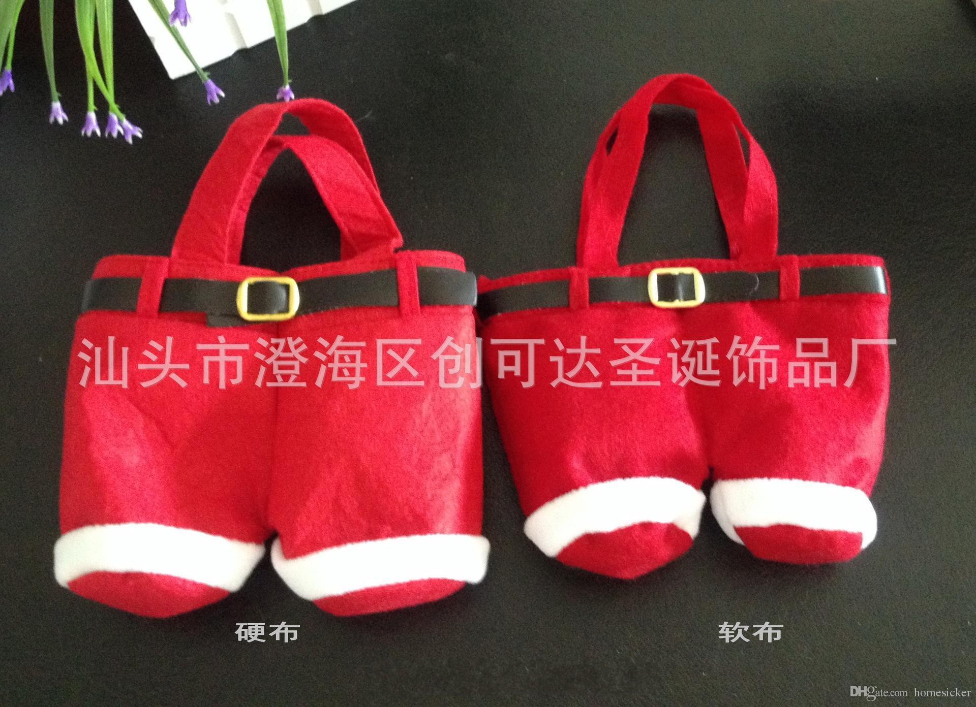 크리스마스는 새로운 산타 바지 디자인 치료에 사탕 부대 웨딩 새해 크리스마스 선물 가방 니트 장식 산타 부대 장식품 20cm