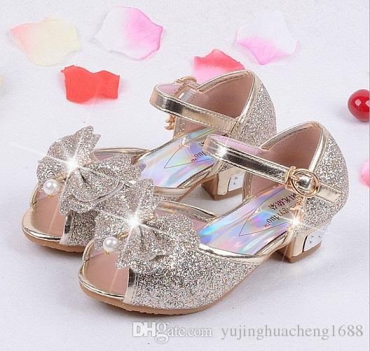 fa1fdade9f0e4e 2018 Children Princess Sandals Kids Girls Wedding Shoes High Heels Dress  Shoes Party Shoes For Girls Pink Blue Gold Kid Shoes Online Baby Boys Shoes  From ...