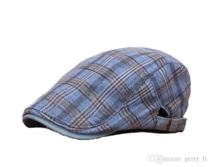 de4aca18c31 2016 New Men Hats Beret Cap Fashion Vintage Plaid Hat Women Cotton ...