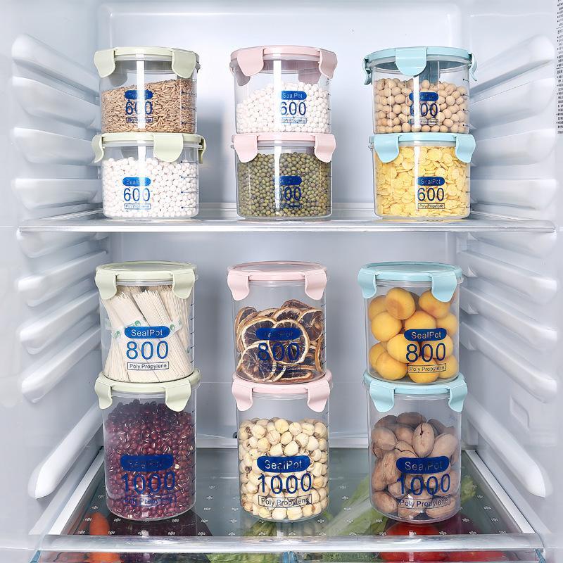 Feuchtigkeitsbeständige Küche Aufbewahrungsbox Versiegeln Lebensmittelkonservierung Kunststoff Frische Topf Container Transparent Versiegelt Crisper Set Kunststoff