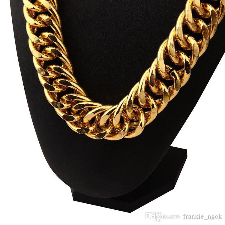 Aluminio 18K chapado en oro extra-grueso de 2.6 cm Exagerado Cadenas Largas Collar Hip Hop Joyería Hip Hop Singer Secal Street Hipster Hombre Cadenas