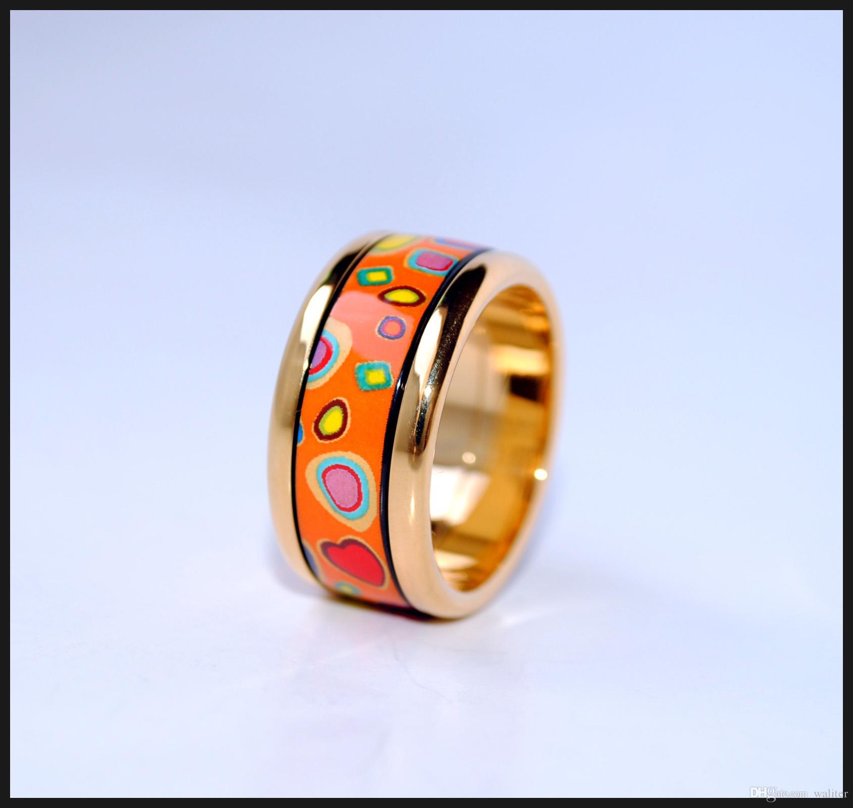 Piedras de colores Serie 18K anillos de esmalte chapado en oro Anillo de calidad superior para anillos de bandas de mujeres para regalo