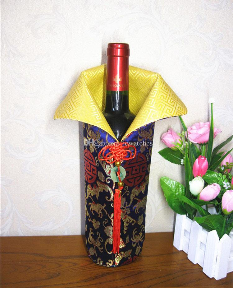 Chinese Handmade Silk Wine Bottle Cover With Chinese Knot New Year Christmas Table Decoration Bottle Cover Bags