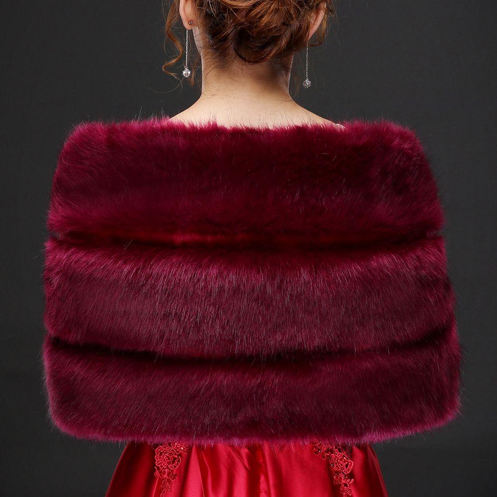 Jane Vini Winter Bridal Jacket Shawl Faux Fur Capes Women's Warm Bolero Wedding Burgundy Bride Shoulder Wraps Bolero Fourrure Femme 2018 New
