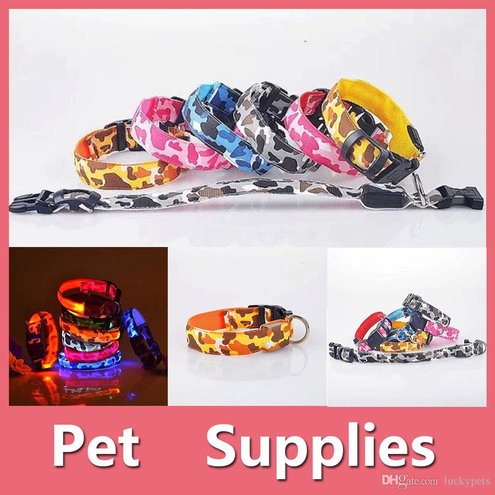 Pet Collar Colorful Led Pet Dog Puppy Cat Kitten Soft Glossy Reflective Collar Safety Buckle Camouflage Disruptive Pattern 2016090803
