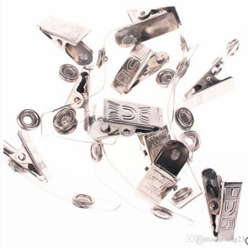 Envío Gratis 50 Unids / lote Clip de Insignia Titular de la Tarjeta de Identificación de Metal Al Por Mayor con Correas Transparentes Material Creativo Escolar Papelaria