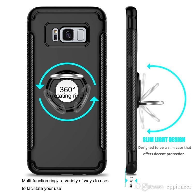 Iphone 11 Pro Caso XR XS max SE Cassa Del Cellulare Mounter Dual Layer lamiera di ferro Supporto Da Auto Staffa Magnetica anello armatura il telefono Samsung