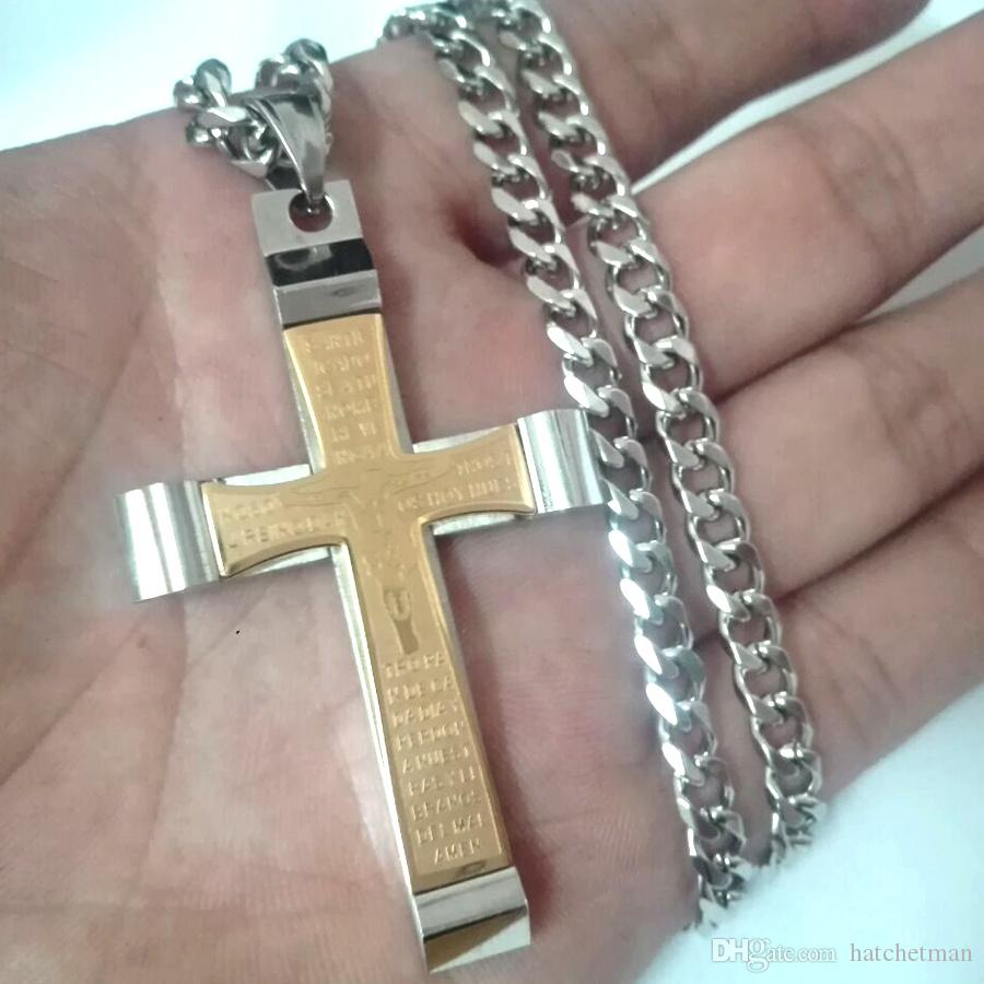 NEW fashion stainless steel men's gold&silver cross pendant cuba chain 18-36in