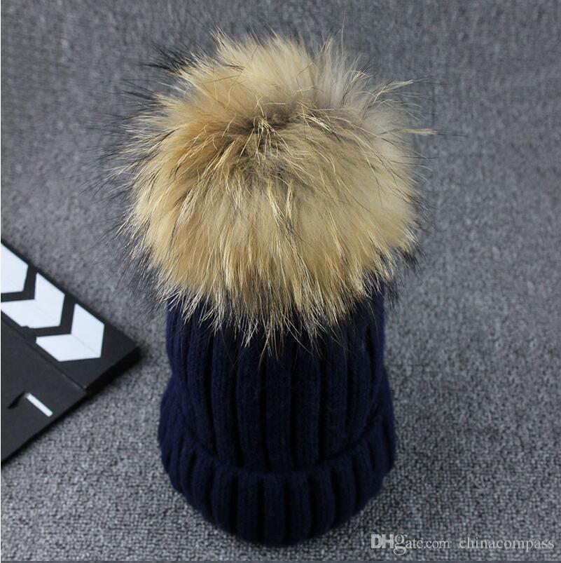 Commercio all'ingrosso lavorato a maglia reale sfera Berretti inverno le donne Girl 'S cappello di lana cotone spesso femminile Cap