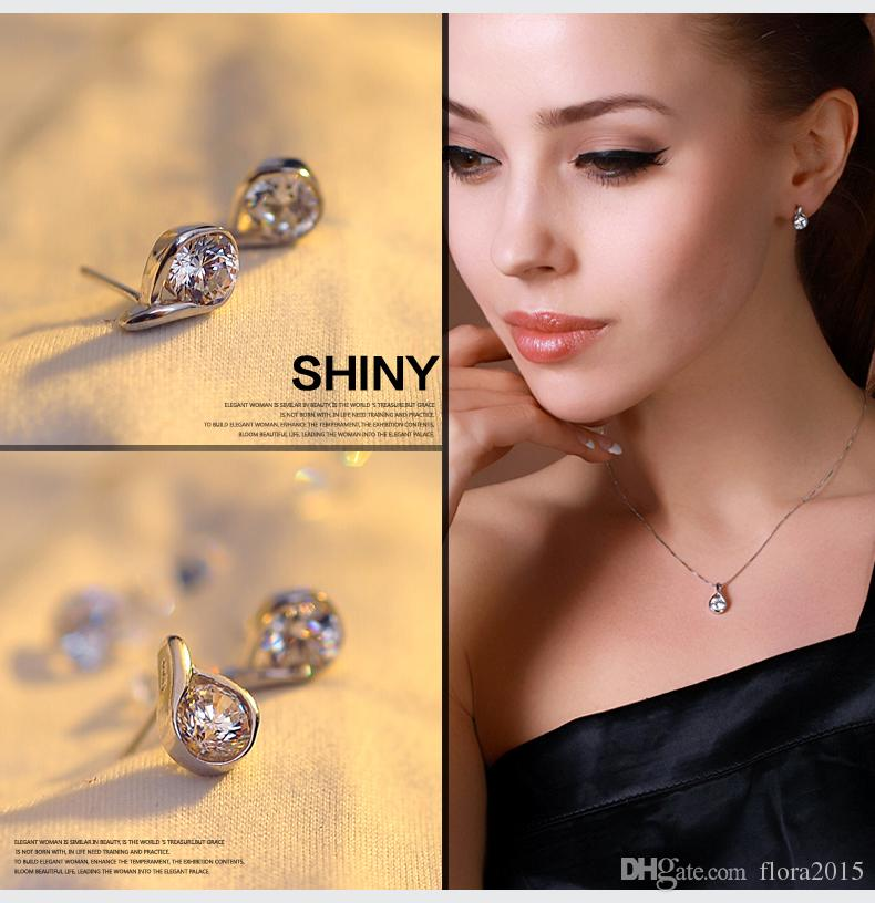 bridal wedding jewelry sets of drop tears jewellery sets for women white gold color plated bijoux best Valentine's Day gift 2018