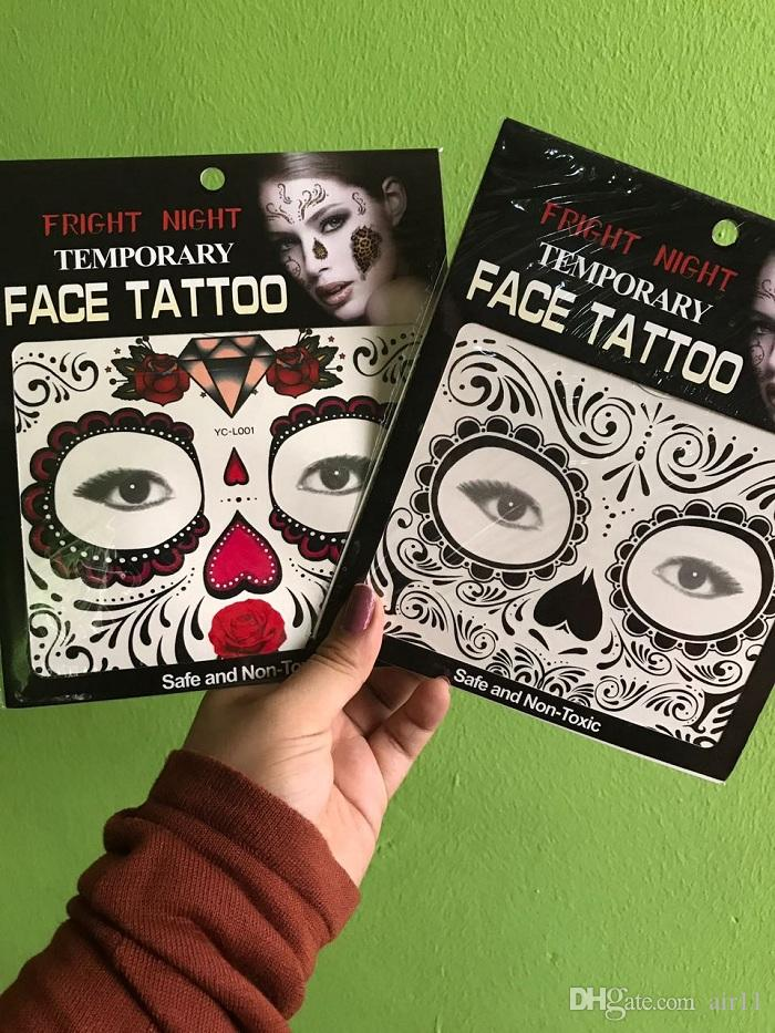 beffbc8b9f356 Hot Sale Fright Night Temporary Face Tattoo Body Art Chain Transfer Tattoos  Temporary Stickers In Stock 9 Styles 6 Month Tattoos Adult Temporary Tattoo  From ...