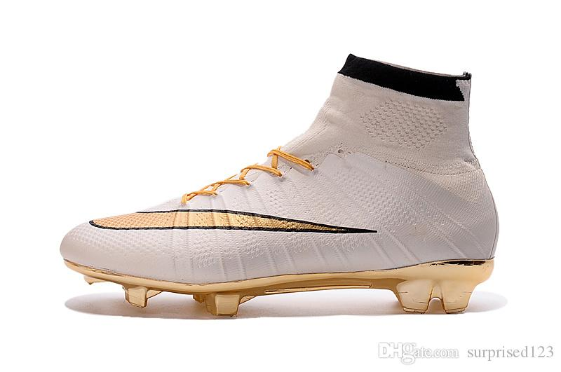 7b343cfa7 2019 2016 Hot Sale 100% Original Mercurial Superfly White Golden FG  Football Boots Soccer Shoes Assassin High Outdoor Soccer Cleats Soccer Boots  From ...