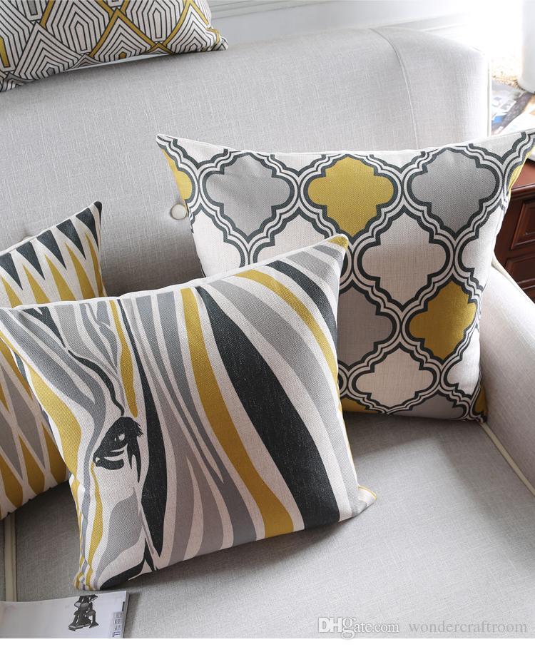 Nordic Minimal Geometry Stripe Line Rhombus Cushion Covers Zebra Art Pillow Cover Decorative Sofa Chair Throws Linen Cotton Pillow Case
