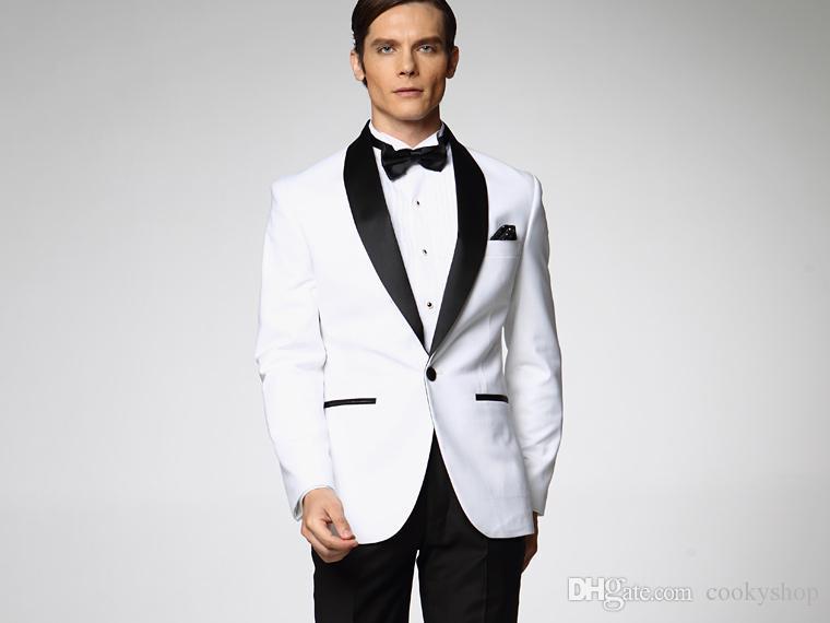 Traje de boda blanco Classic Center Vent Slim Fit novio esmoquin Traje de mejor hombre con cuello negro Traje de hombre chaqueta + pantalones + corbata