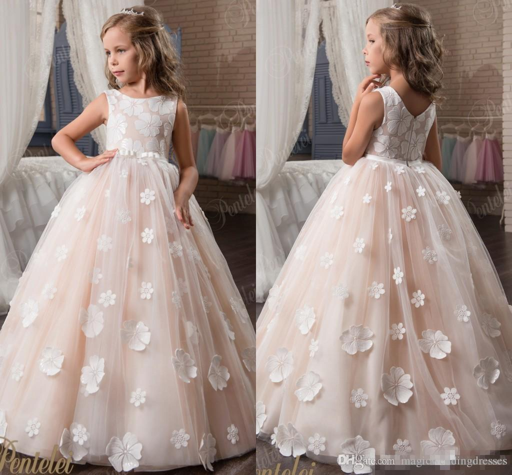 Blush Pink Lace Arabic 2017 Flower Girl Dresses Vintage Tulle Ball