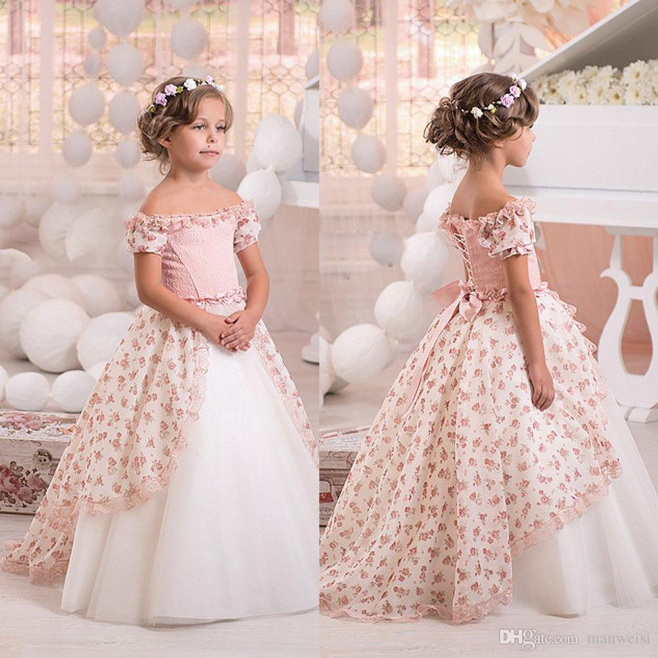 Off Shoulder Print Vintage Flower Girls Dresses Short Sleeves Lace