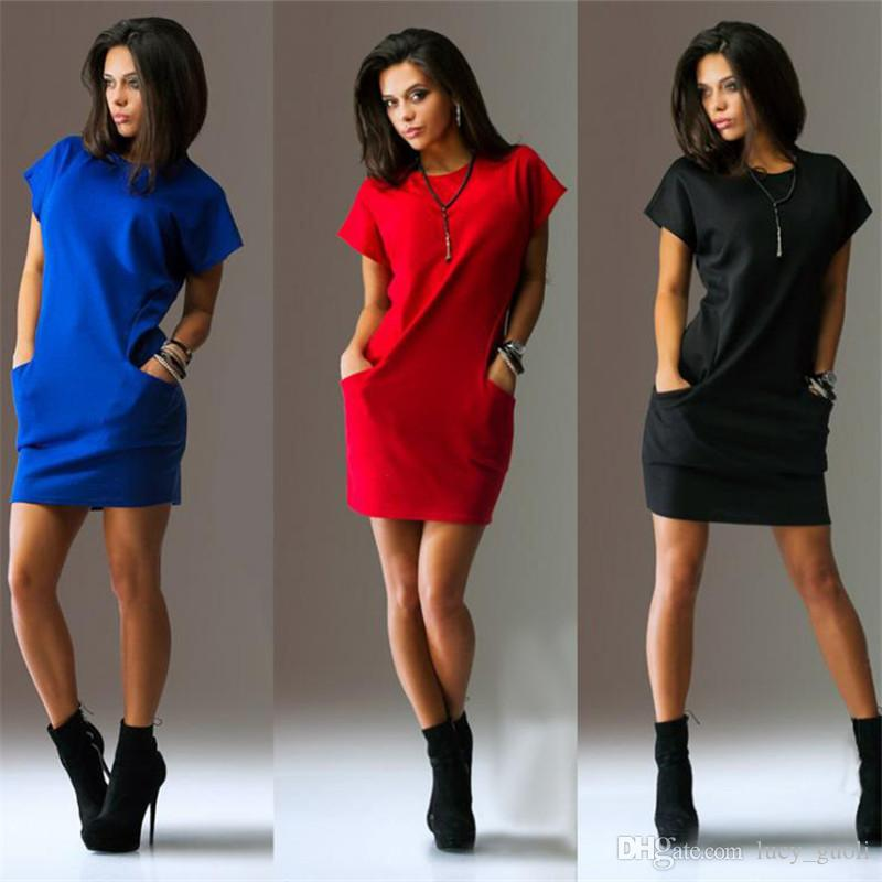 2016 Summer women dresses sexy o-neck Black and red dress Casual Batwing Short sleeve pockets mini Shirt Dress New Fashion Plus size S-XL